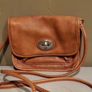 Fossil brown leather crossbody mini bag